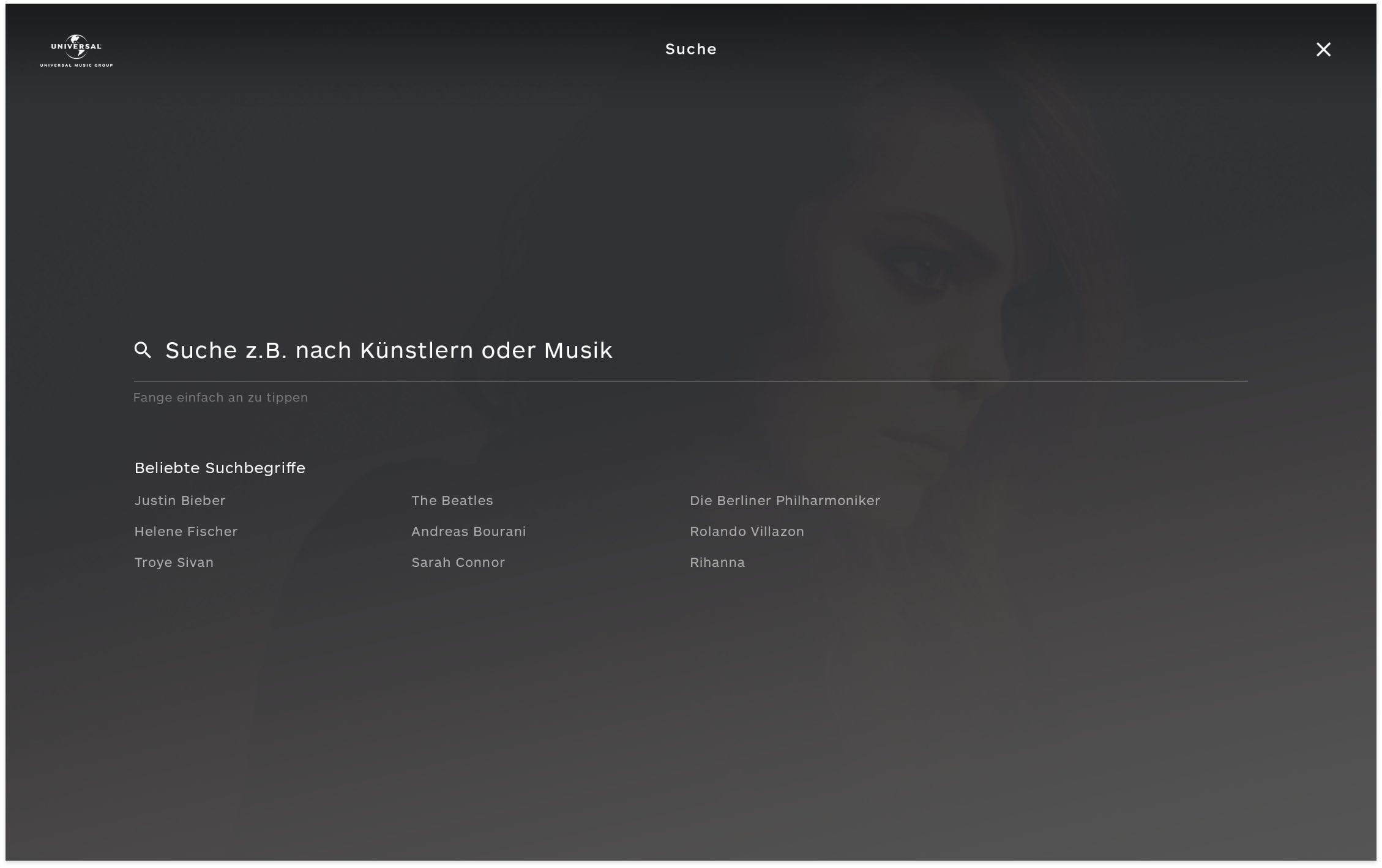 Search form on Universal-Music Group Germany